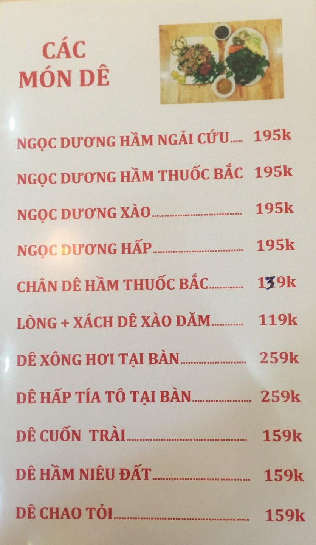 Menu Sơn Thủy Restaurant - Chuyên dê tươi - Nguyễn Văn Lộc 2
