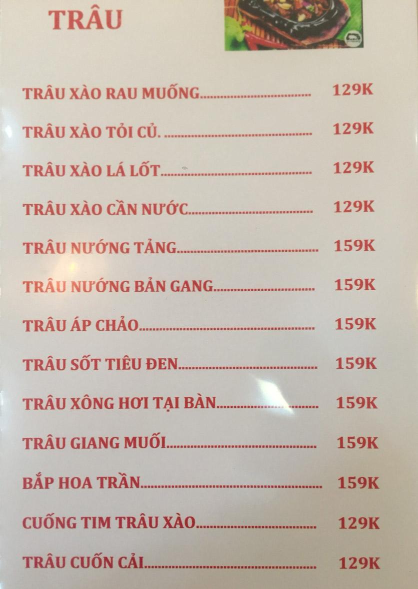 Menu Sơn Thủy Restaurant - Chuyên dê tươi - Nguyễn Văn Lộc 3