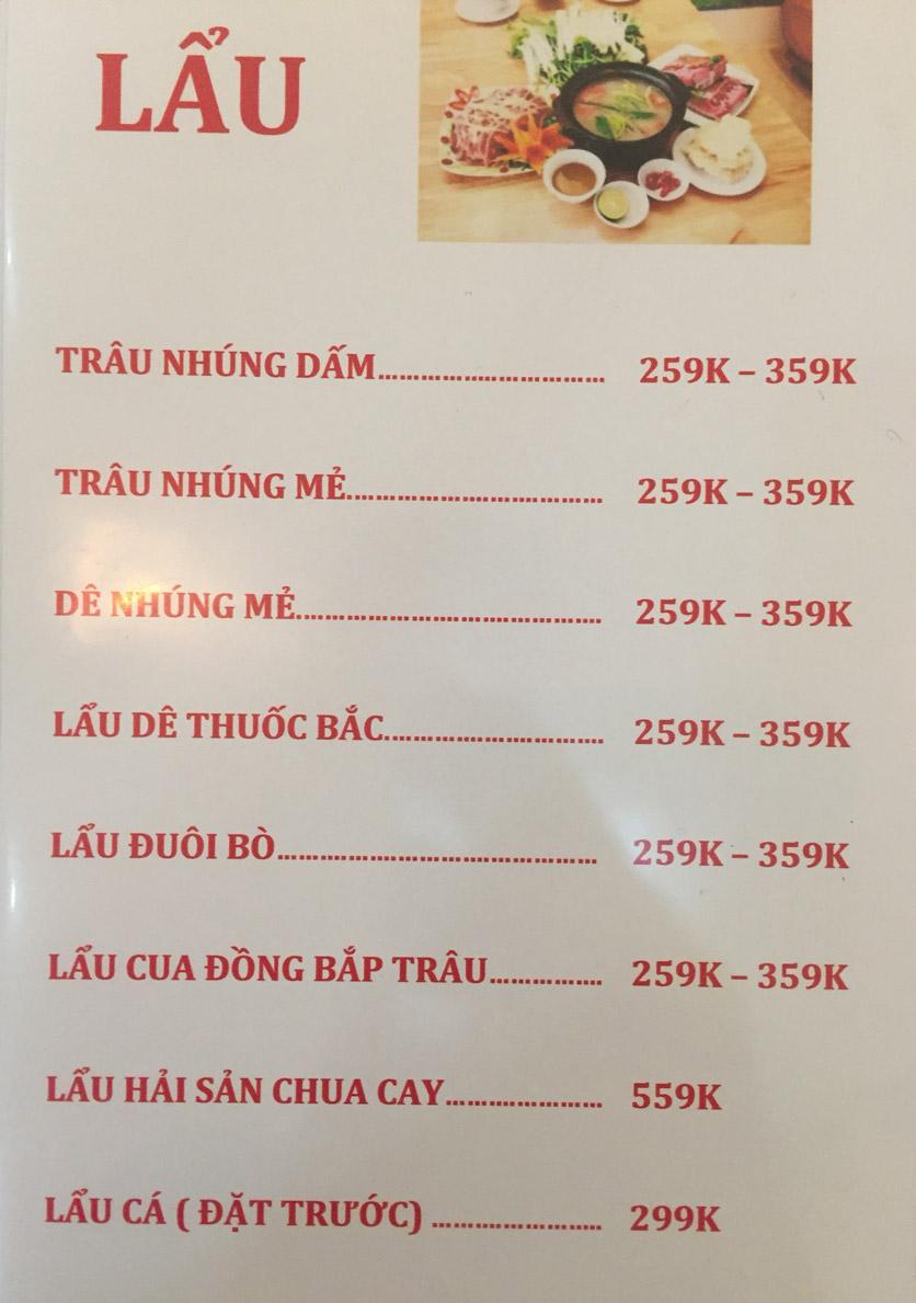 Menu Sơn Thủy Restaurant - Chuyên dê tươi - Nguyễn Văn Lộc 5
