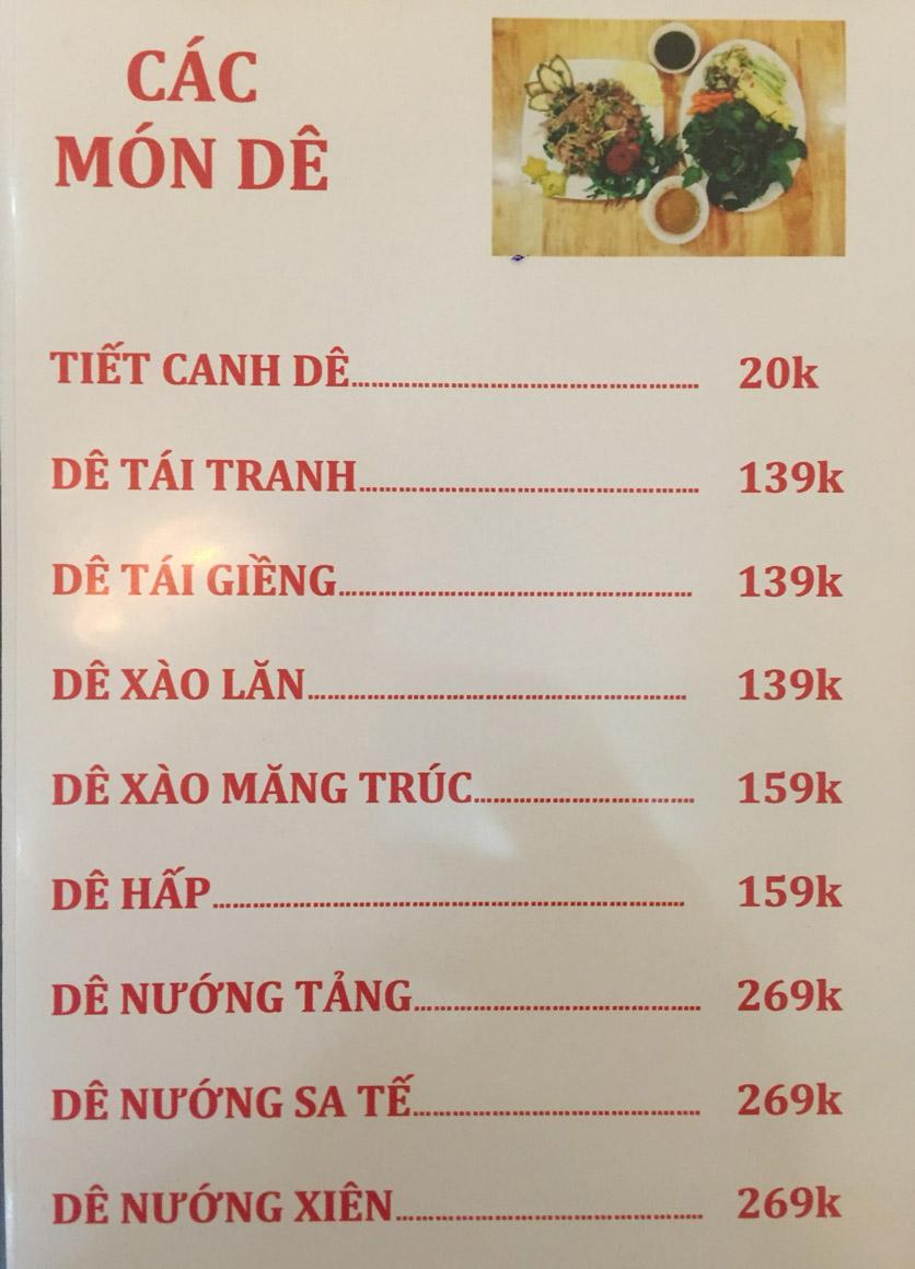 Menu Sơn Thủy Restaurant - Chuyên dê tươi - Nguyễn Văn Lộc 7