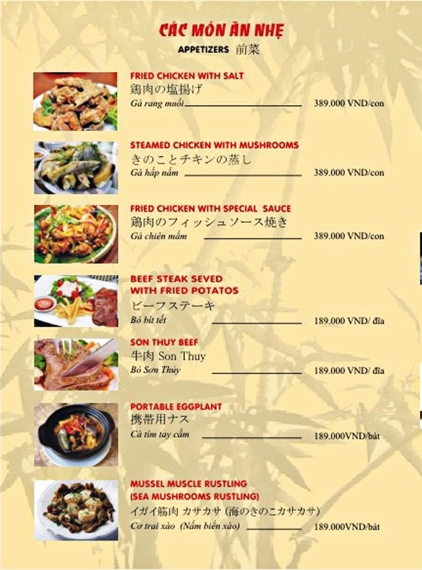 Menu Sơn Thủy Restaurant - Phạm Huy Thông 7