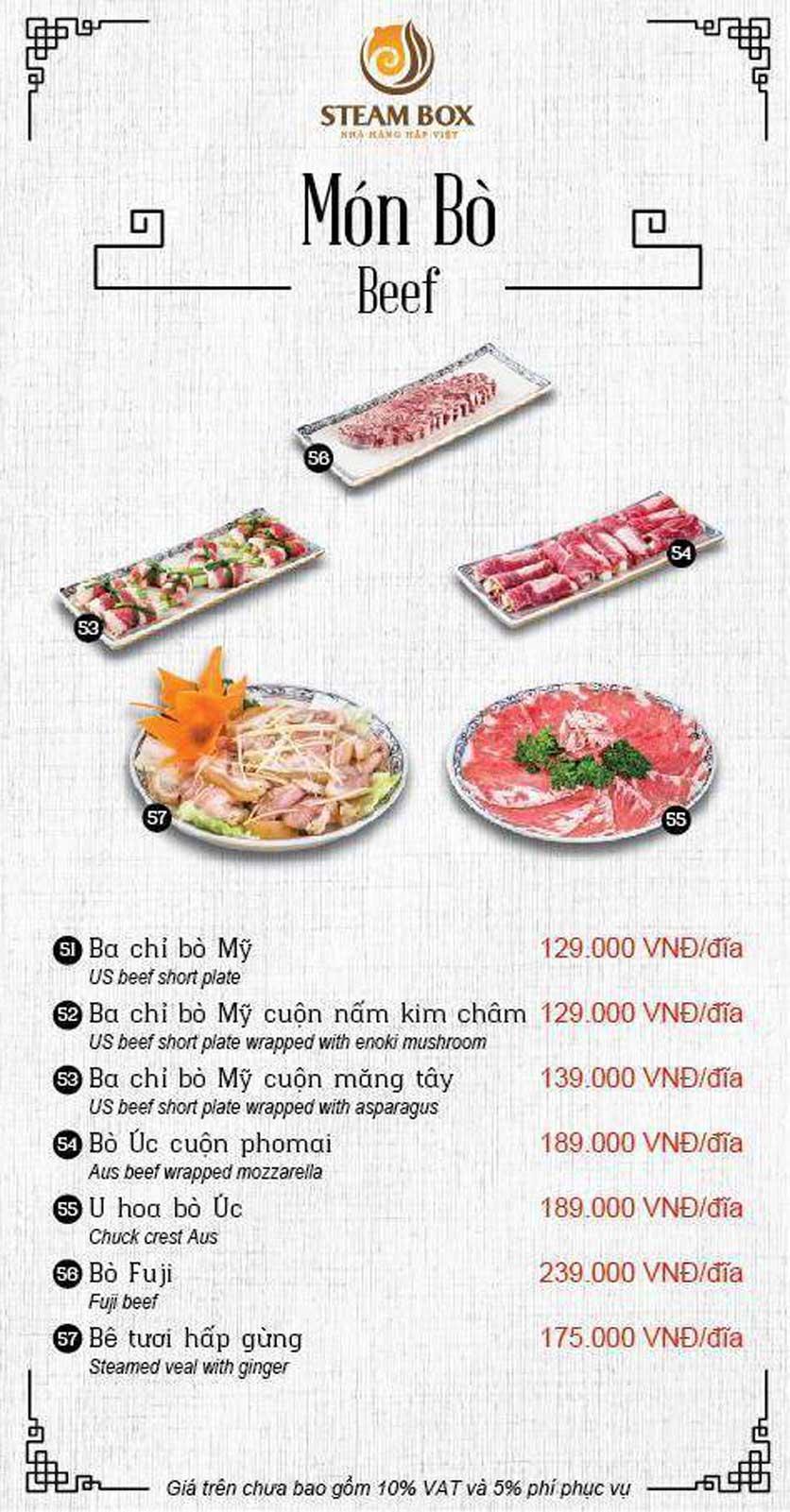 Menu Steam Box  - Nguyễn Thị Định 6