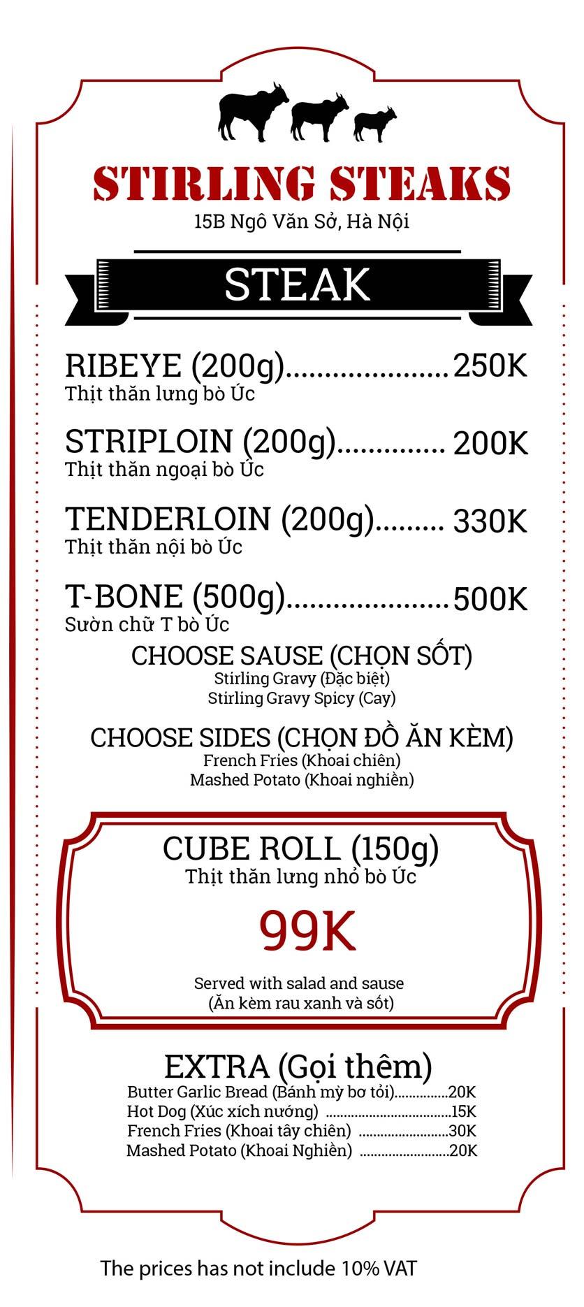 Menu Stirling Steaks Vietnam - Ngô Văn Sở 3