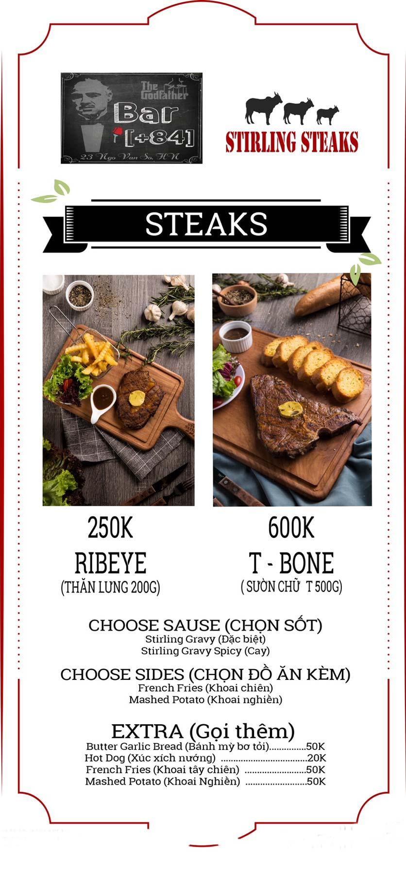 Menu Stirling Steaks Vietnam - Ngô Văn Sở 2