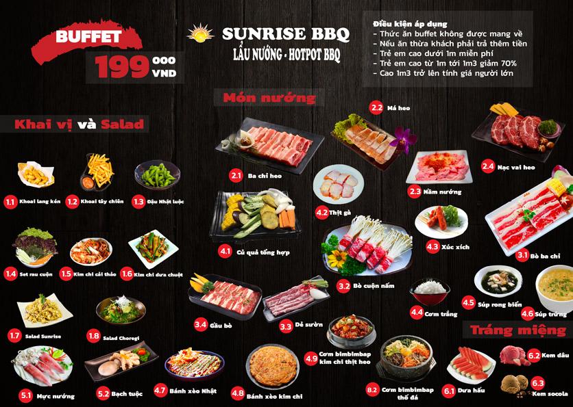 Menu Sunrise – BBQ & Hotpot – Bạch Đằng  1