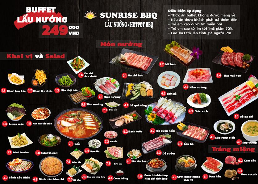 Menu Sunrise – BBQ & Hotpot – Bạch Đằng  2