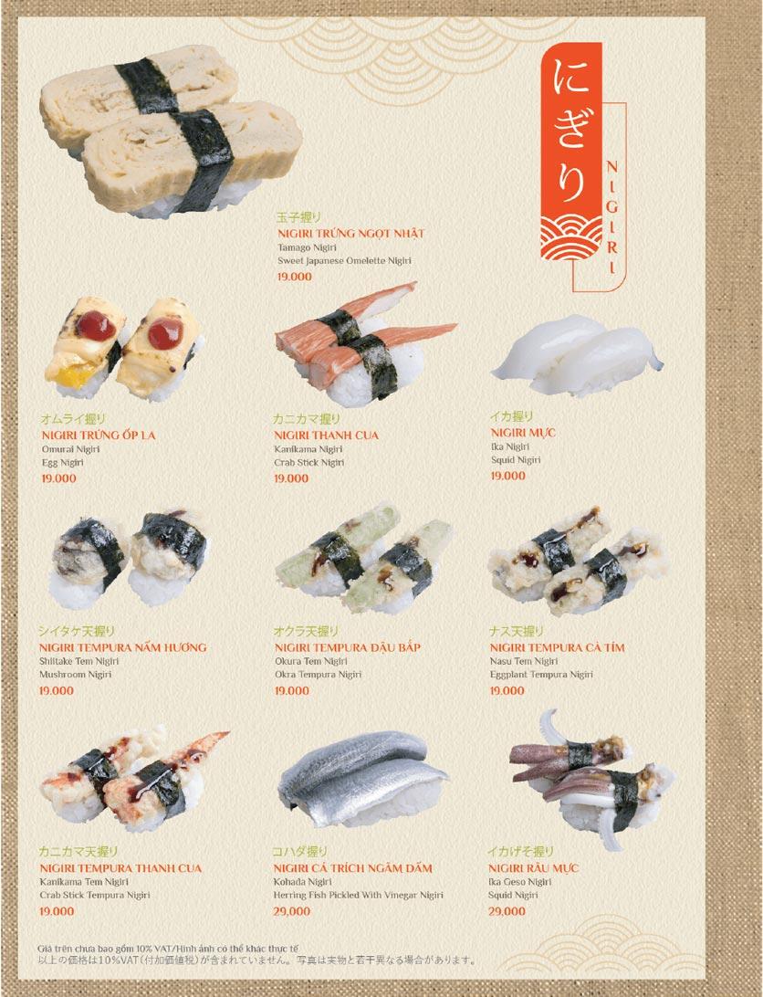 Menu Sushi Kei – Lotte Center 1