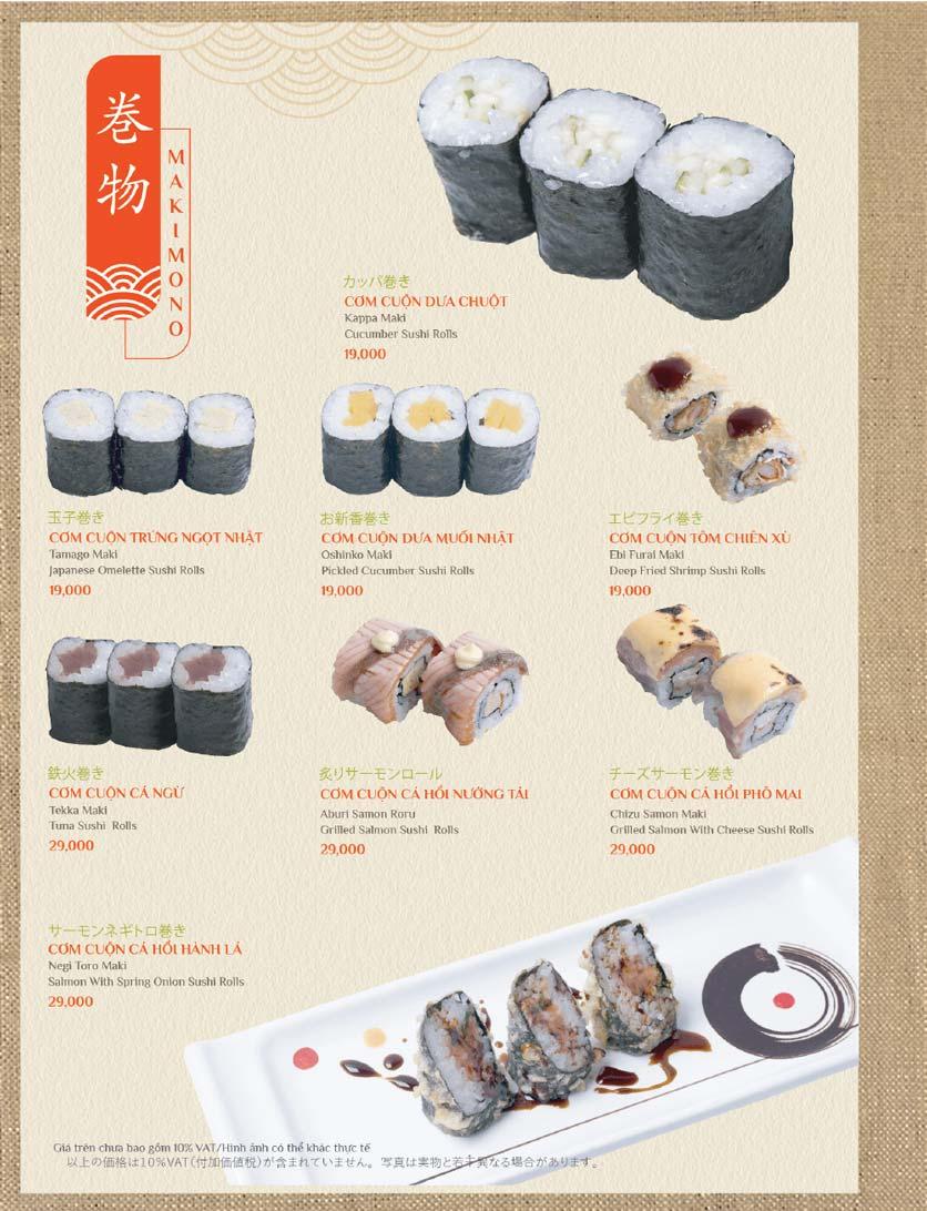 Menu Sushi Kei – Lotte Center 7