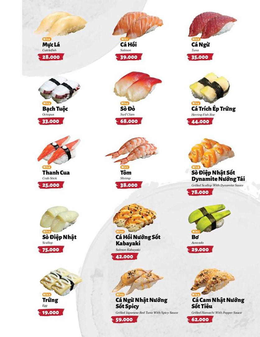 Menu Sushi Masa - Đường 3/2 25