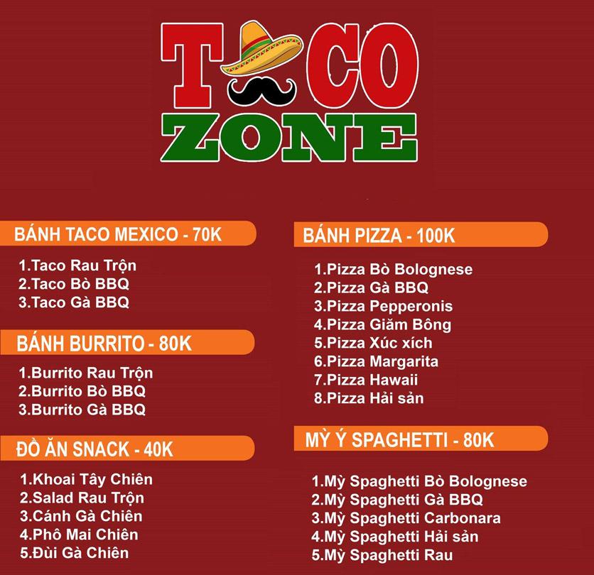 Menu Taco Zone - Kim Mã 1