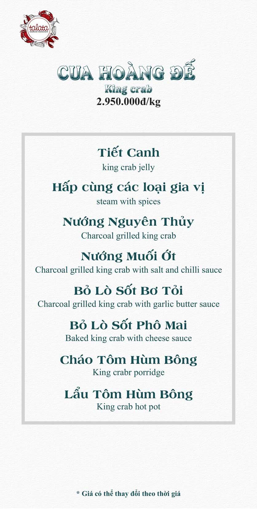 Menu Hải Sản Talata - Huỳnh Thúc Kháng 15