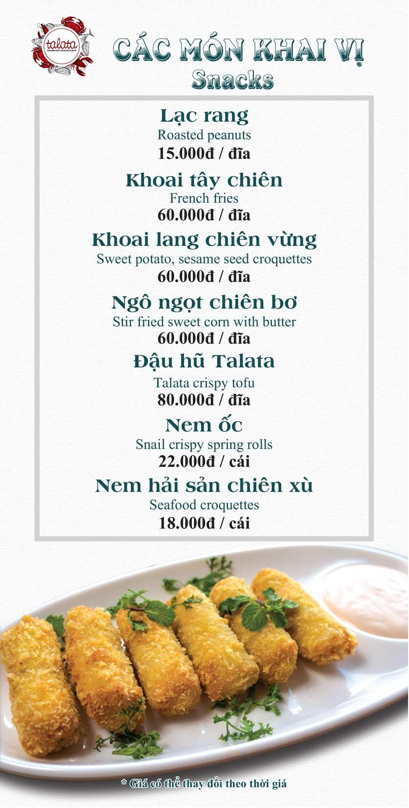 Menu Hải Sản Talata - Huỳnh Thúc Kháng 2