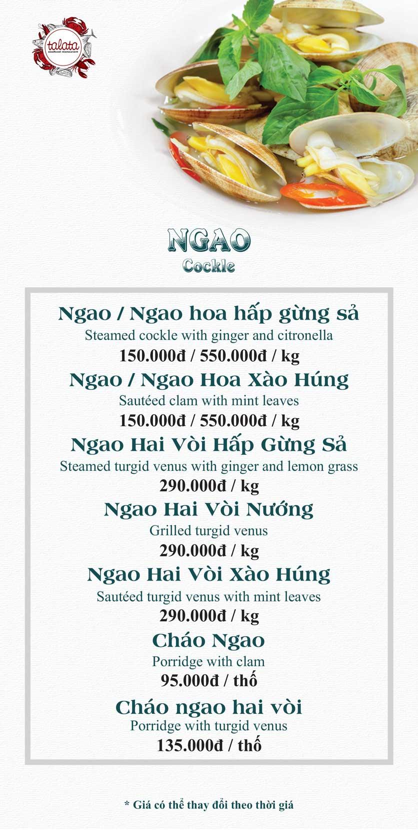 Menu Hải Sản Talata - Huỳnh Thúc Kháng 5