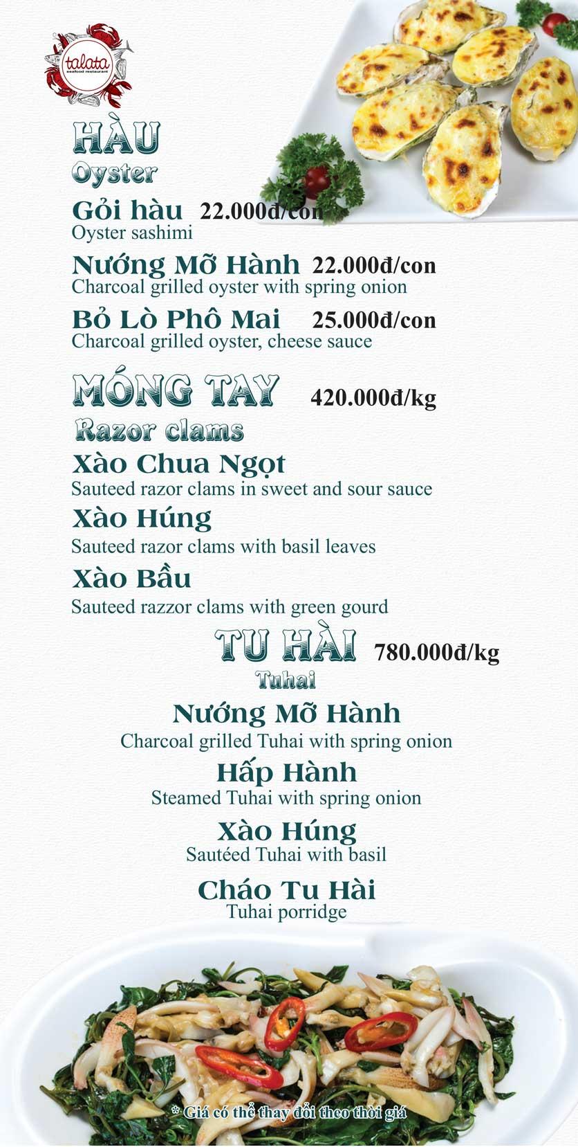 Menu Hải Sản Talata - Huỳnh Thúc Kháng 8