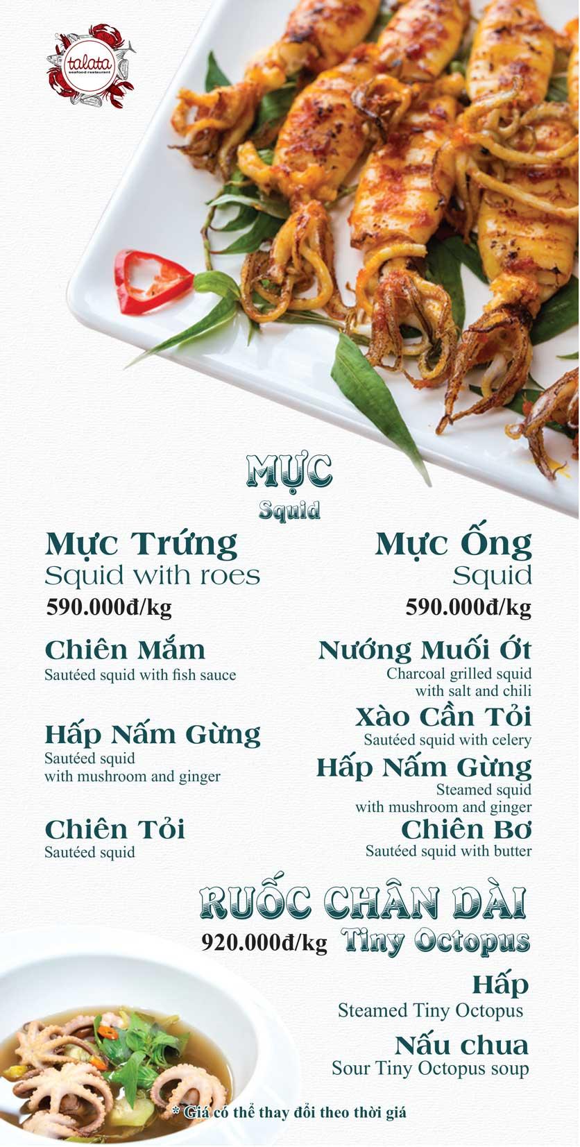Menu Hải Sản Talata - Huỳnh Thúc Kháng 9