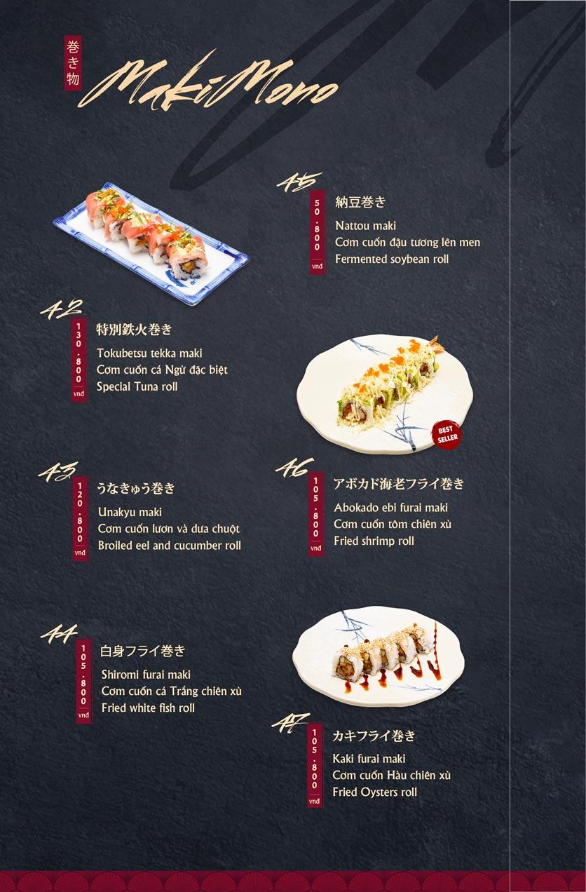 Menu Tamaya Japanese Restaurant - Hai Bà Trưng 10