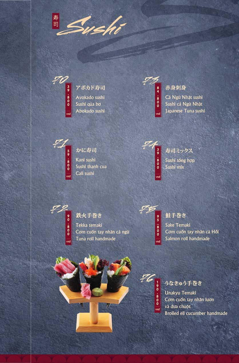 Menu Tamaya Japanese Restaurant - Hai Bà Trưng 18