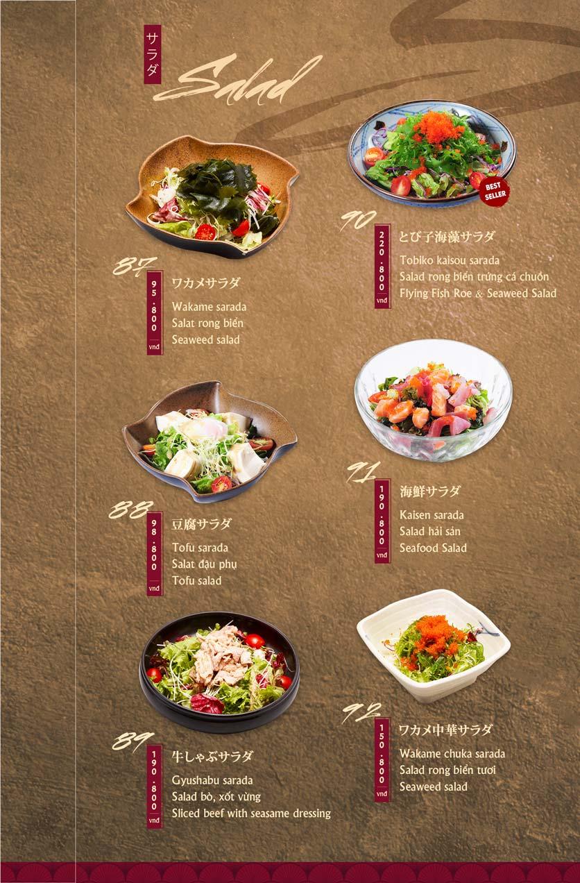 Menu Tamaya Japanese Restaurant - Hai Bà Trưng 20