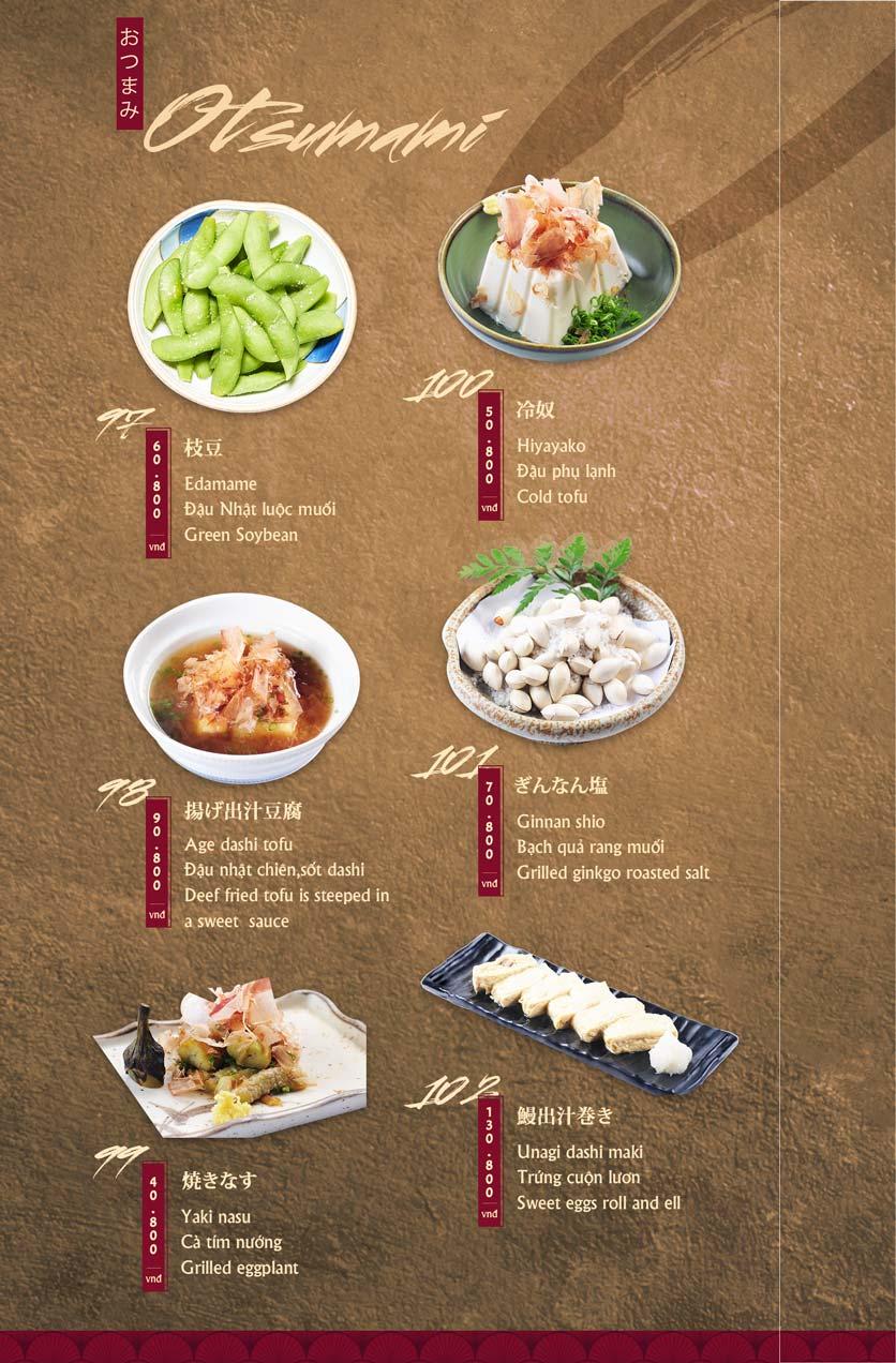 Menu Tamaya Japanese Restaurant - Hai Bà Trưng 22