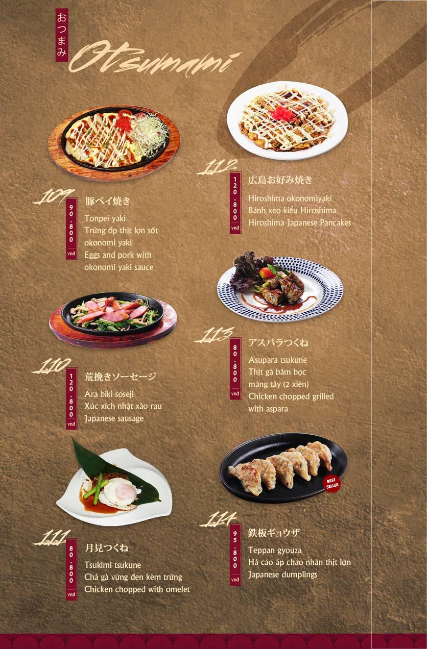 Menu Tamaya Japanese Restaurant - Hai Bà Trưng 25