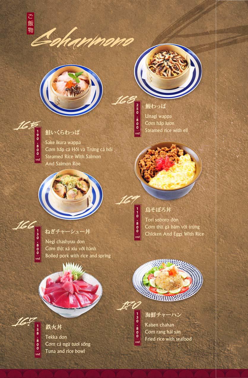 Menu Tamaya Japanese Restaurant - Hai Bà Trưng 36
