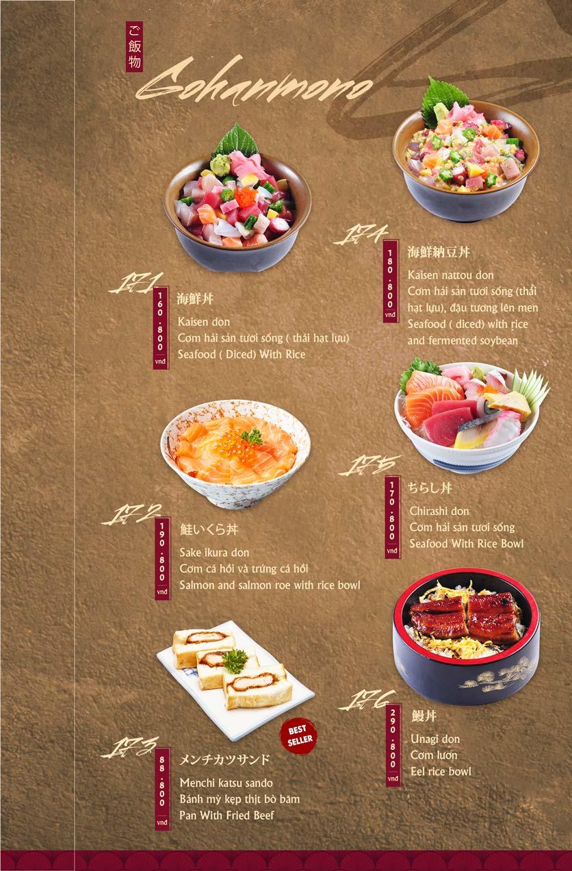 Menu Tamaya Japanese Restaurant - Hai Bà Trưng 38