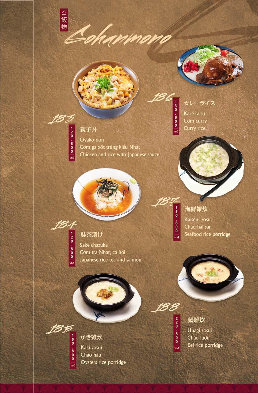 Menu Tamaya Japanese Restaurant - Hai Bà Trưng 40