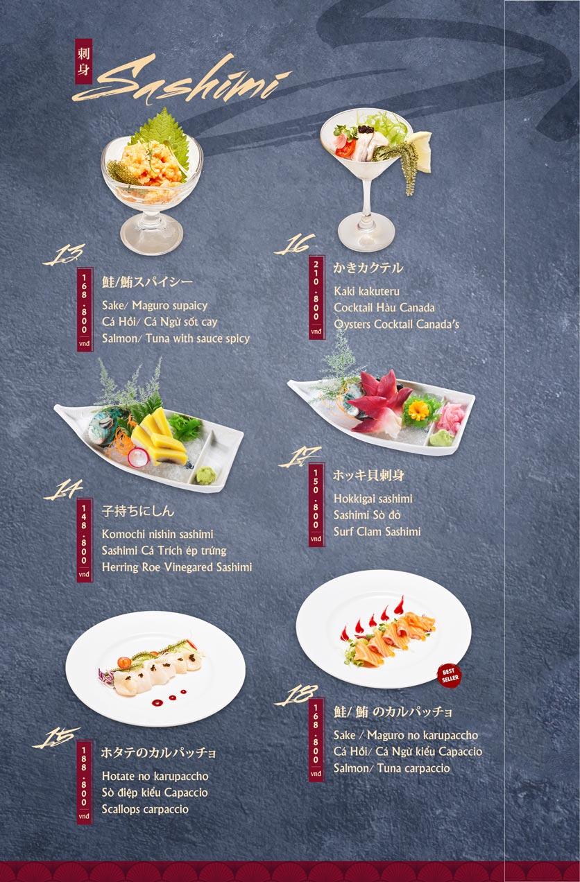 Menu Tamaya Japanese Restaurant - Hai Bà Trưng 4