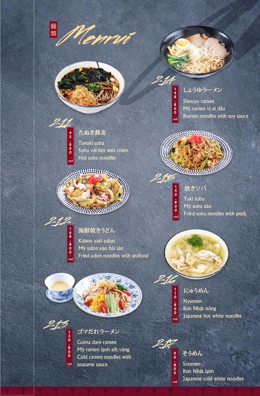Menu Tamaya Japanese Restaurant - Hai Bà Trưng 44