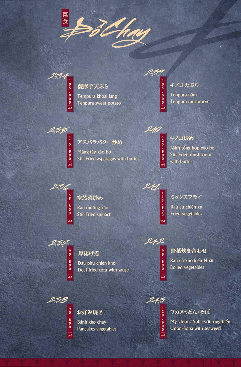Menu Tamaya Japanese Restaurant - Hai Bà Trưng 49