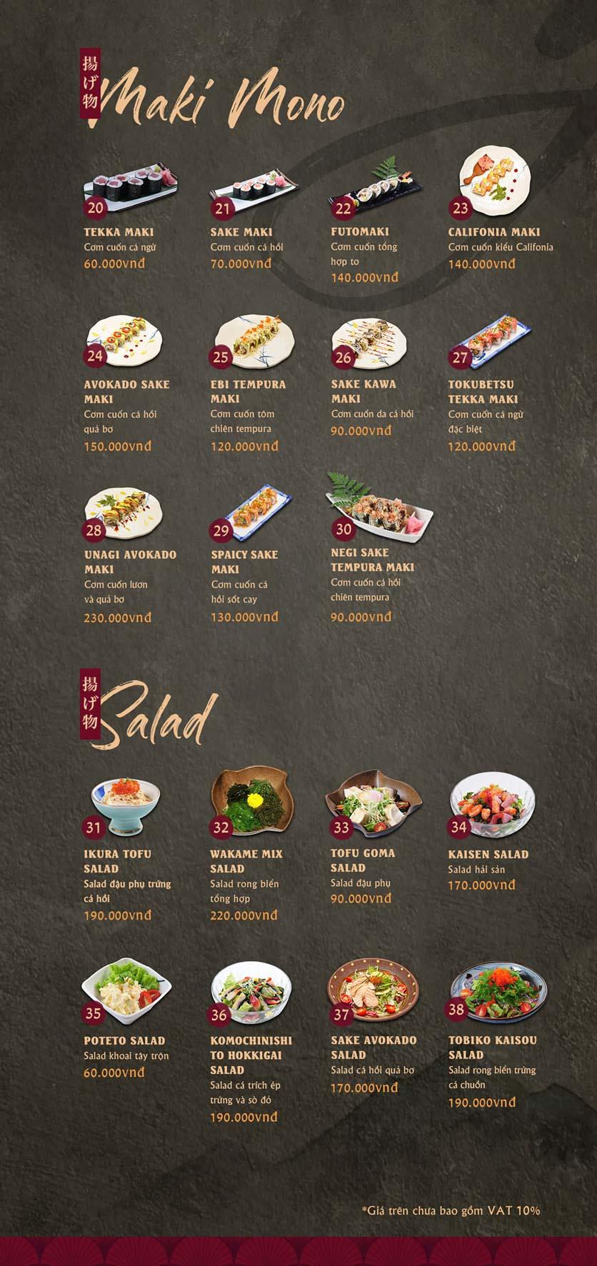 Menu Tamaya Japanese Restaurant - Kim Đồng  2