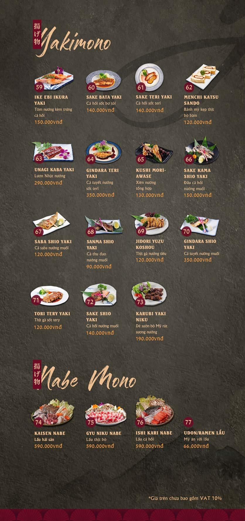 Menu Tamaya Japanese Restaurant - Kim Đồng  4