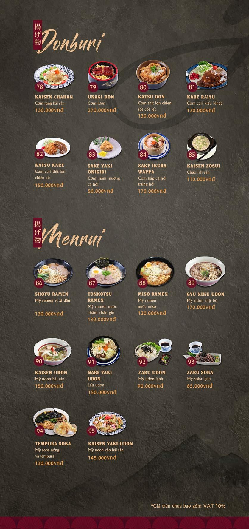 Menu Tamaya Japanese Restaurant - Kim Đồng  5
