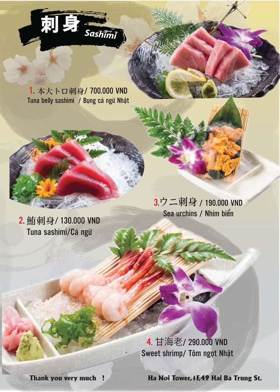 Menu Tamaya Japanese Restaurant - Hai Bà Trưng 1