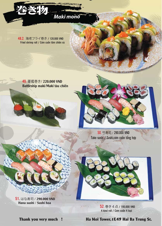 Menu Tamaya Japanese Restaurant - Hai Bà Trưng 12
