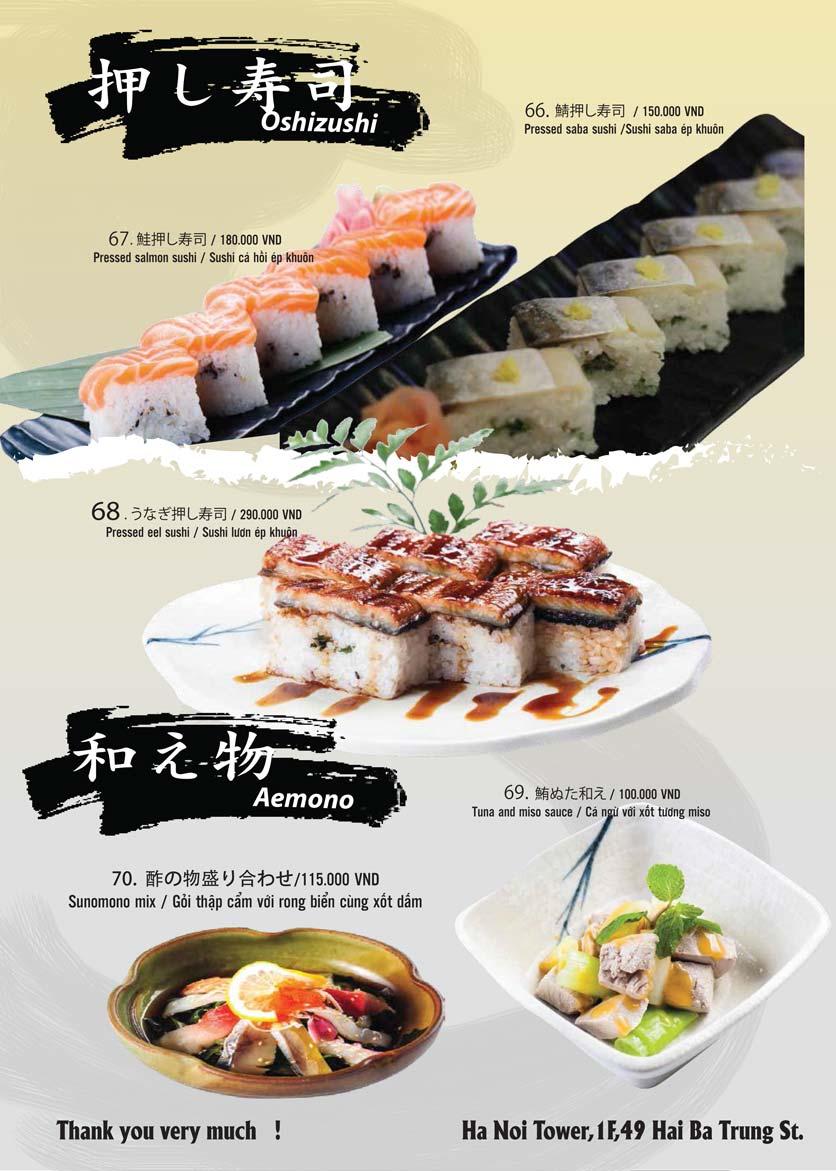 Menu Tamaya Japanese Restaurant - Hai Bà Trưng 15