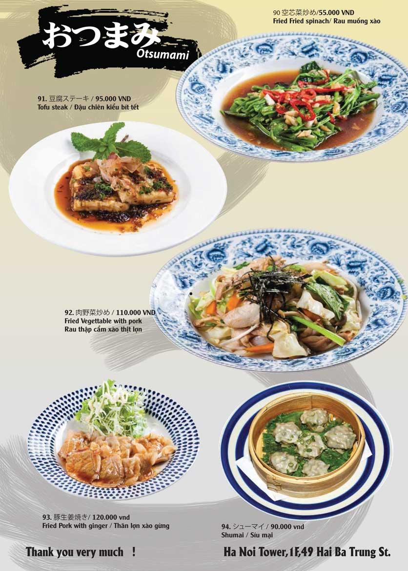 Menu Tamaya Japanese Restaurant - Hai Bà Trưng 21