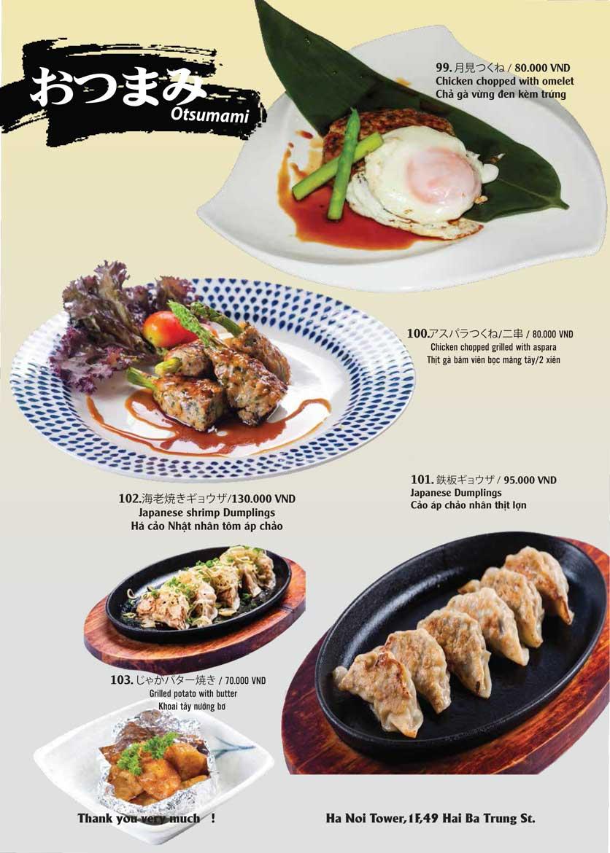 Menu Tamaya Japanese Restaurant - Hai Bà Trưng 23