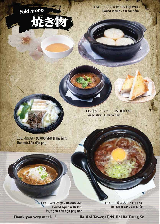 Menu Tamaya Japanese Restaurant - Hai Bà Trưng 31
