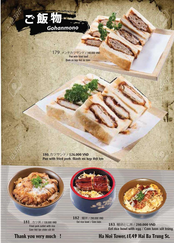 Menu Tamaya Japanese Restaurant - Hai Bà Trưng 39