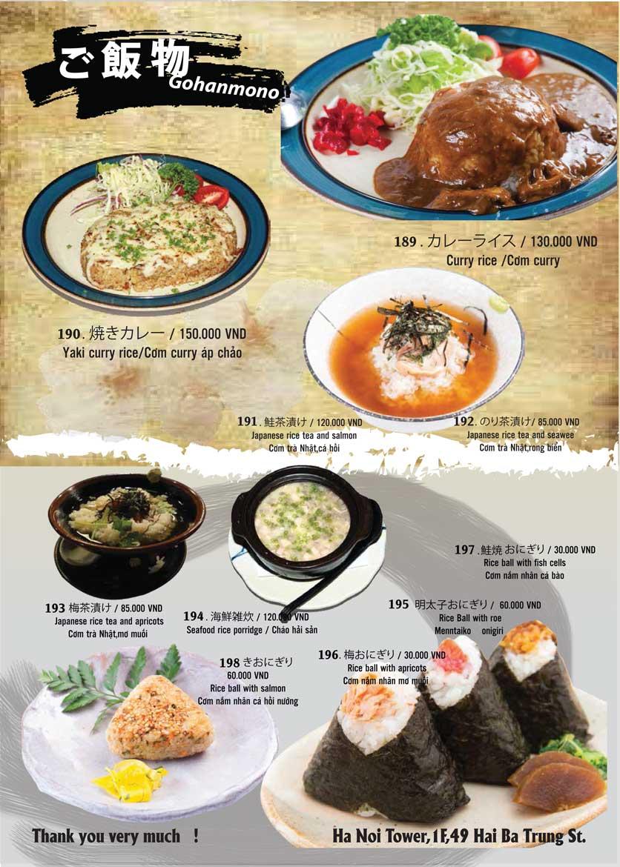 Menu Tamaya Japanese Restaurant - Hai Bà Trưng 41