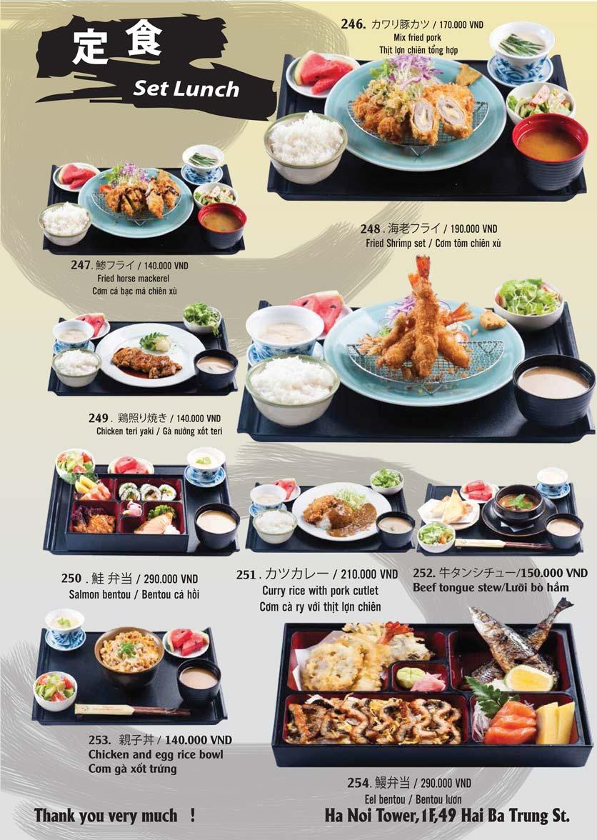 Menu Tamaya Japanese Restaurant - Hai Bà Trưng 52