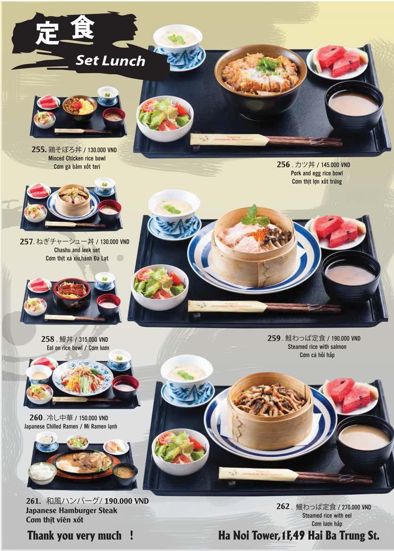 Menu Tamaya Japanese Restaurant - Hai Bà Trưng 53