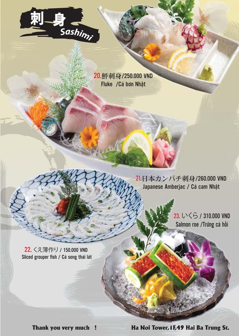 Menu Tamaya Japanese Restaurant - Hai Bà Trưng 6