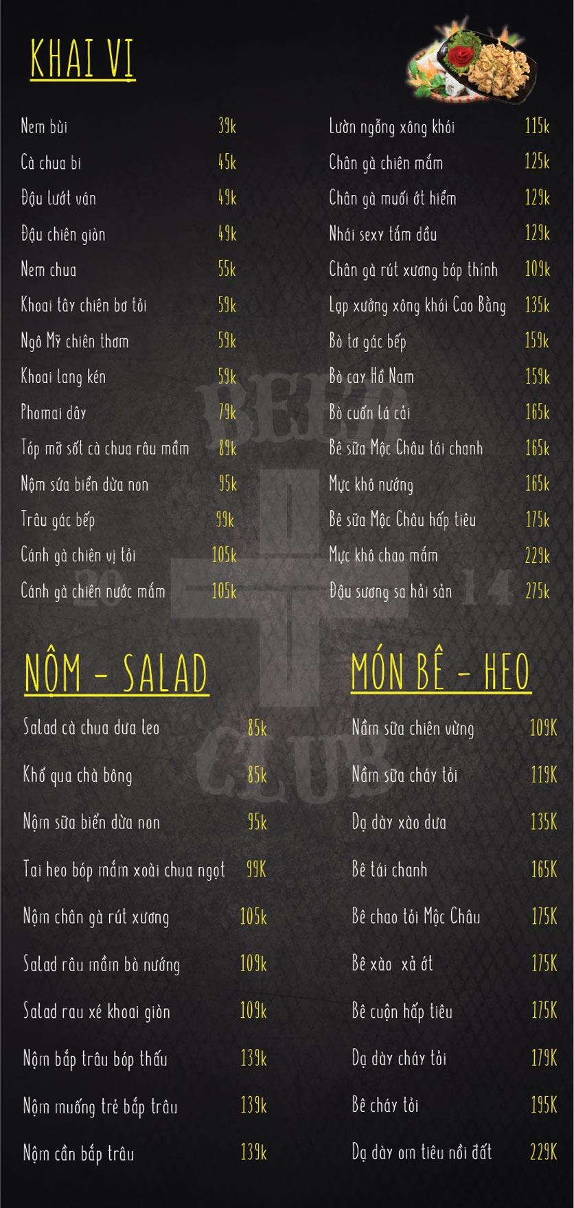 Menu T+ Beer Club – Ngọc Khánh 1