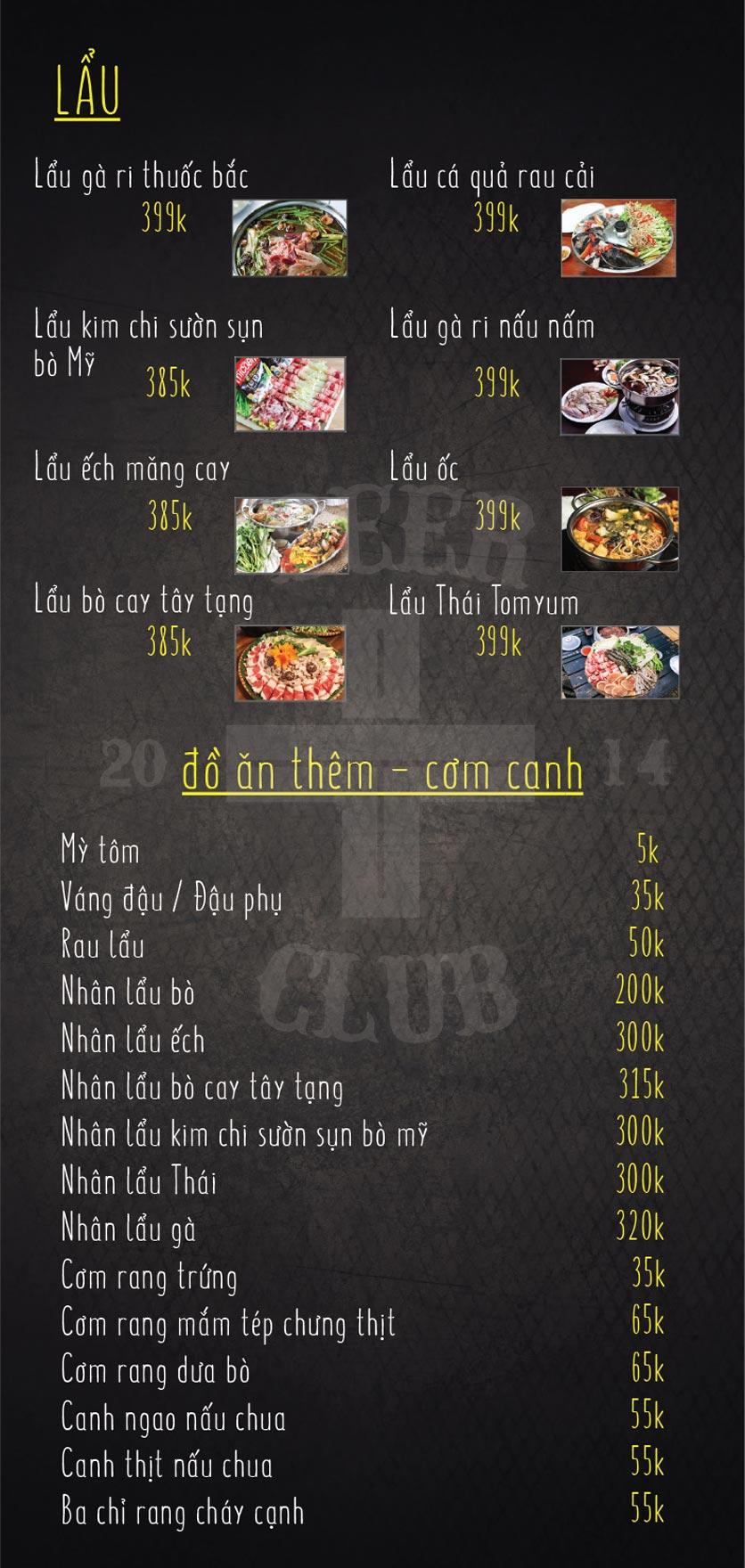Menu T+ Beer Club – Ngọc Khánh 2