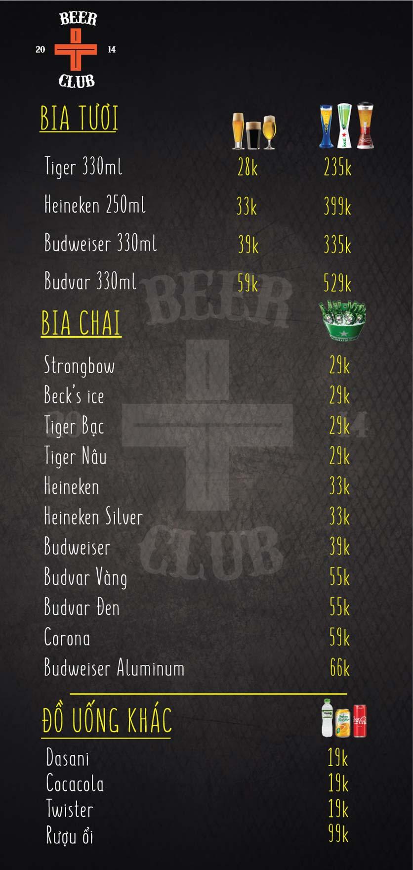 Menu T+ Beer Club – Ngọc Khánh 5