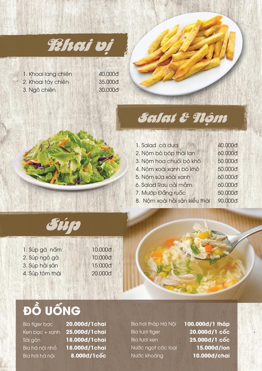 Menu Thảo Nguyên Xanh Restaurant - Võ Nguyên Giáp 1