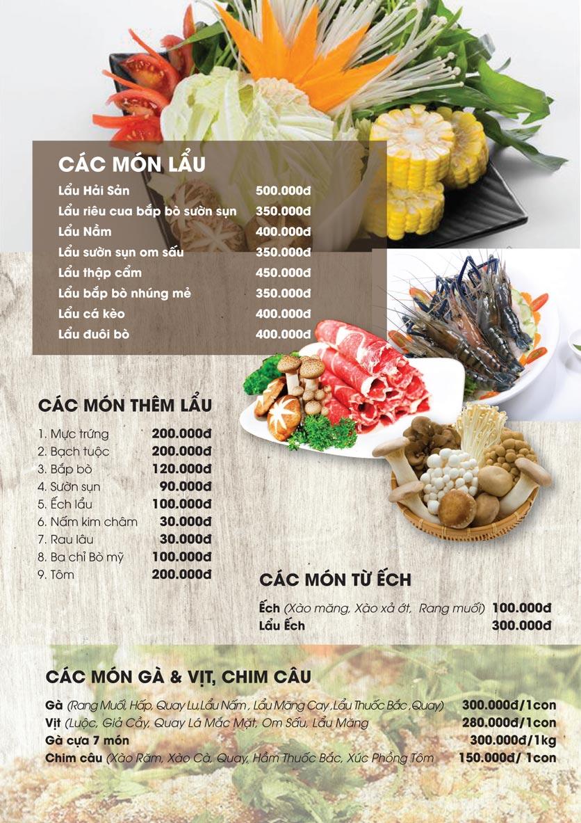 Menu Thảo Nguyên Xanh Restaurant - Võ Nguyên Giáp 2