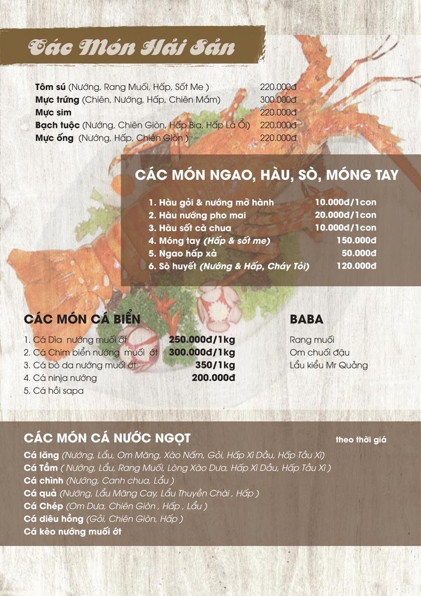 Menu Thảo Nguyên Xanh Restaurant - Võ Nguyên Giáp 3